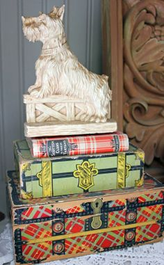 Itsy Bits and Pieces: National Tartan Day - vintage Scottish Terrier, book, boxes