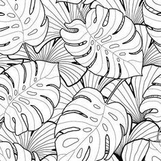 Modelo inconsútil de las hojas tropicales gráfico en blanco y negro. Fondo de árboles de palma. Textil, tela, textura, cartel. ilustración vectorial Foto de archivo - 53166272