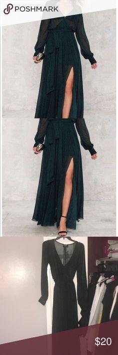 NWT Nasty Gal green maxi dress! never worn! NWT Green nasty Gal dress. With slit! Long sleeve 👗 Nasty Gal Dresses