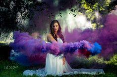 Blue and purple smoke trails - smoke grenade photography | smoke bomb | smoke portrait | www.JamesYoungPhotography.com