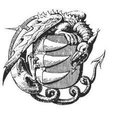 Báthory Family Seal, which depicts three teeth in the center surrounded by a dragon.