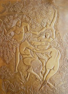 Antique bronze relief sculpture dancing nude women nymphs playing with Pan Faun at ArtNotch