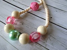 Pastel pink chunky little girl necklace, pink, cream and  mint by PaigeandPenelope, $17.00