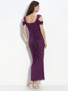 Sheath/Column Off-the-shoulder Beading Short Ankle-length Chiffon Prom Dress