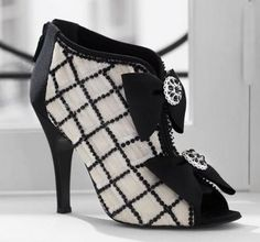 chanel tulle open toe ankle bootwith gros grain bow detail