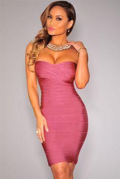 Elegant Formfitting Bandage Dress In Dark Pink LAVELIQ