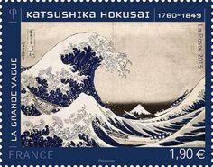 Bild von Katsushika Hokusai auf französischer Briefmarke