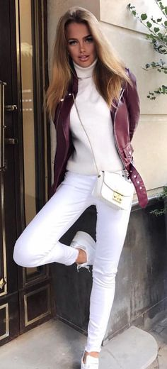 #winter #outfits purple leather cardigan, white turtle neckline top and fitted jeans outfit