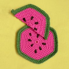 Des maniques en forme de pastèque / Watermelon Oven gloves, crochet, knitting, homemade, pink and green