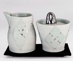 Anderson Bailey's cream and sugar set.   Learn more about (and see more images from) all of the working potters featured in the June/July/August 2015 issue of Ceramics Monthly here: http://ceramicartsdaily.org/ceramics-monthly/ceramics-monthly-junejulyaugust-2015/
