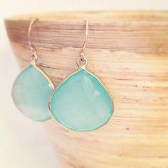 Aqua Stone earrings, Aqua Chalcedony Earrings, Aqua Bridesmaid Earrings by AinaKai via Etsy