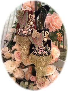 Romantic Butterfly Victorian Tea Purse or Small  Cell PhoneTote-Victorian, Cell, phone, purse, tote, shoulder, fancy, feminine, beaded, hand made, elegant, opuletn