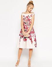 ASOS | ASOS Beautiful Floral Printed Midi Prom Dress at ASOS