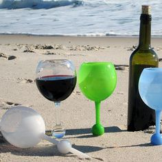 Wine glasses that stand up in the sand ~and~ float in the water.