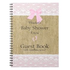Burlap and Lace Image- Baby Shower Guest Book- Spiral Note Books