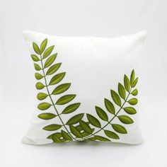 Verde hoja funda de almohada hojas bordado en la por KainKain