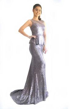 41617fbf2cb Miracle Agency Australian Designer Mauve Silver Sequin 9620 Peplum Mermaid Formal  Dress