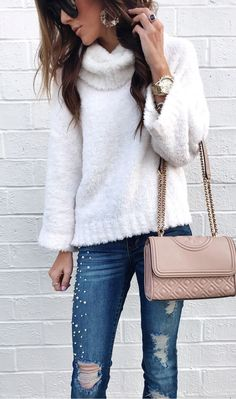 #winter #outfits women's white fur coat. Click To Shop This Look.