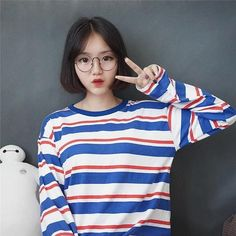 8f9529cf43ef New Fashion Striped Female s Pullovers Long Sleeved O-neck Ulzzang Women  Fall Thin Hoodies Striped Girl Students Loose Leisure