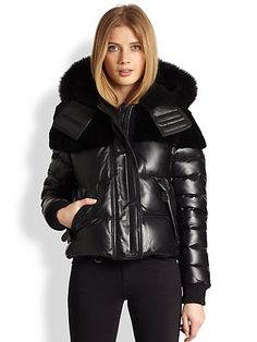 Burberry Brit - Fur-Trim Leather Puffer Jacket - Saks.com