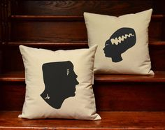 Set of 2 His and Hers Frankenstein Cotton Canvas Pillow covers  and or Cushions - Halloween Decor- White or Natural, 14x14 or 16x16 inches