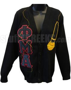 Phi Mu Alpha Geek Letter Cardigan with Microphone, Black  Item Id: PRE-CSR-FMA-LTR_MIC-BLK  Price:  $169.00