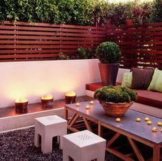 Diseño de terraza con cerco de madera en listones