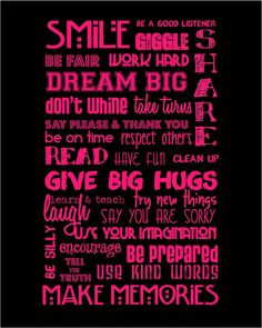 CUSTOM LISTING for ROBYN Hot Pink and Black Classroom Rules