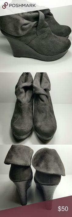 "Grey Platform Booties Fabric Upper, Man Made Lower These are super adorable with no signs of wear, pre owned Gray, Nine West Maddie Booties with have a 4"" platform. Nine West Shoes Ankle Boots & Booties"