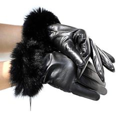 f0936878ae5 Sheepskin Leather With Rabbit Fur Wrist Length Winter Gloves Elegant  Gloves