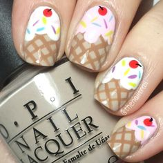 Ice cream, cake nails. OPI. Nail art.nail design. Polish. By thenailtrail