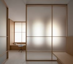 Ash wood, glass and brass feature inside Valencia's Swiss Concept clinic, which Francesc Rifé Studio has designed in reference to Eastern meditation rooms. Interior Minimalista, Bedroom Minimalist, Minimalist Interior, Minimalist Lanterns, Door Design, House Design, Design Design, Japanese Interior Design, Meditation Rooms