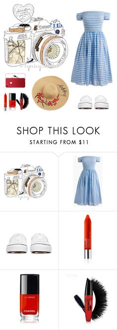 """""""Take me on an adventure!"""" by dinkums-the-cat ❤ liked on Polyvore featuring American Eagle Outfitters, J.Crew, Undercover, Clinique and Chanel"""