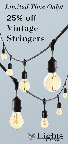 Our durable stringer prominently features 10 Edison-style LED bulbs, evoking warm, vintage charm - perfect for both indoor and outdoor use Vintage String Lights, Cafe Style, Bulbs, Track Lighting, Vintage Inspired, How To Memorize Things, Glow, Indoor, Ceiling Lights