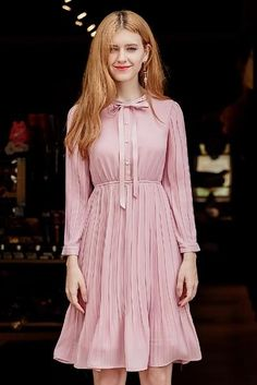 Bow Tie Pleat High Waist Dress