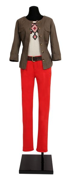 1.2.3 Paris - Veste Isis 99€  Tee-shirt Verona 39€  Pantalon Terence 69€  Ceinture Ora 49€ #lin #kaki #ethnique #rouge #mode #printemps #123