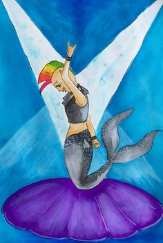 #rockstar mermaid - meerjungfrau zum #mermay Mermaid, Painting, Art, Young Women, Craft Art, Painting Art, Kunst, Paintings, Drawings