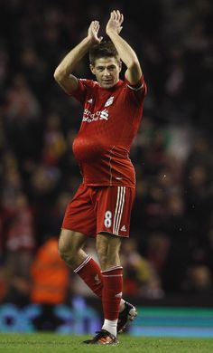 """Steven Gerrard - hat-trick hero, and his response to """"the baby's not yours. Liverpool Football Club, Liverpool Fc, Stevie G, France Football, Liverpool Legends, Laws Of The Game, I Love The World, You'll Never Walk Alone, Football Photos"""