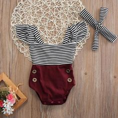 9ab74e2a9f9b9 Striped Romper + Bow - Bitsy Bug Boutique Toddler Outfits, Baby Outfits  Newborn, Girl