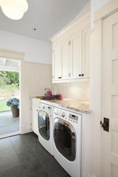 Jodi Foster - laundry/mud rooms - laundry room storage, laundry room cabinets, laundry room cabinetry, gray tiled floors, gray floor tile, n...