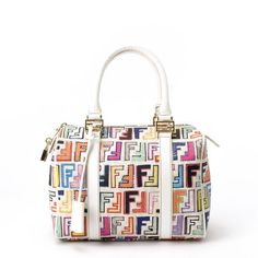 93cb41a65e30  Fendi white leather  Boston  Bag in  Zucca. Available at lxrco.