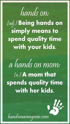 What is a hands on mom? This is a great resource for moms :)