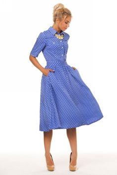 0543 Платье голубое в горох