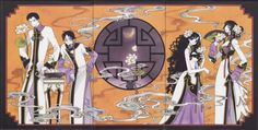 xxxHolic ~~ Men to the left, women to the right and Mokona in the middle. :: Doumeki, Watanuki, Himawari, & Yuuko