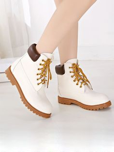 White Lace Up Ankle Boots