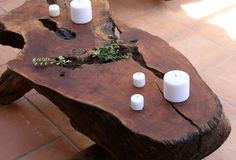 What a cool green way to display furniture-a refinished stump!