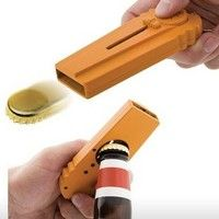 Name: ejection bottle opener Material: ABS Color: orange, blue and yellow Product size: about 12*4.8