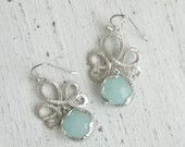 Blue Silver Earrings Blue Drop Earrings Blue Chandelier Earrings Blue Dangle Earrings Bridesmaid Earrings Bridesmaid Gift Bridal Earrings