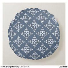 Slate grey pattern round pillow Grey Pattern, Pattern Design, Soft Pillows, Throw Pillows, White Trellis, Grey Home Decor, Grey Cushions, Round Pillow, Decorative Cushions