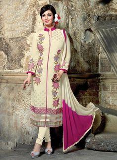 Ayesha Takia Georgette Thread Work Cream Unstitched Churidar Suit - S82